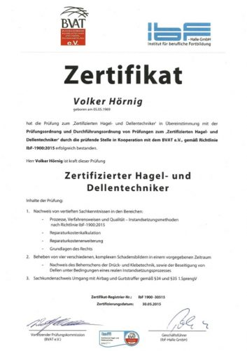 BVAT Zertifikat Dellentechniker Volker Hörnig